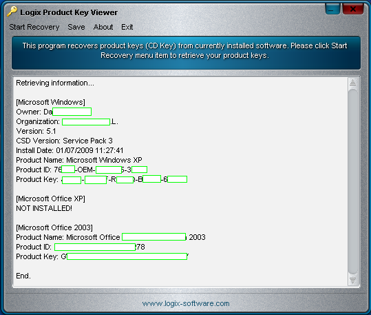 Editor's Review of Logix Product Key Viewer
