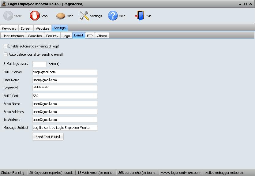 Screenshot E-mail Settings