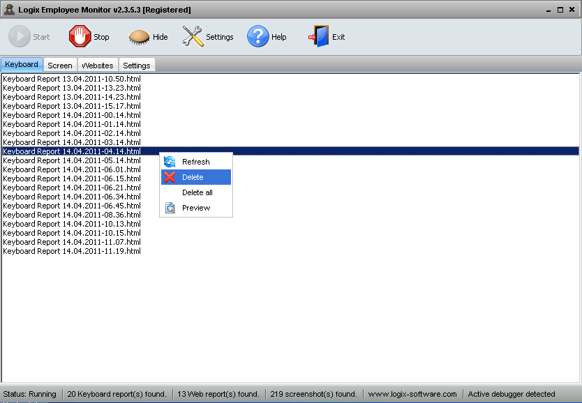 Screenshot Keyboard Reports