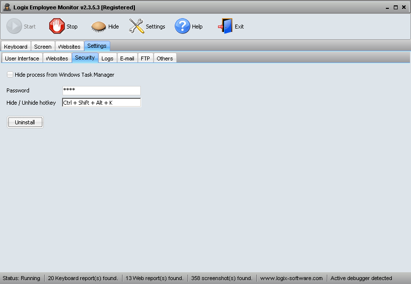 Screenshot Security Settings