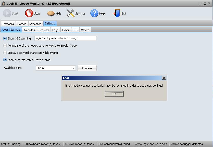 Screenshot User Interface Settings